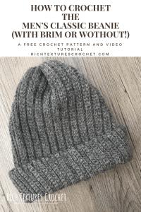 men's crochet hat Pinterest image