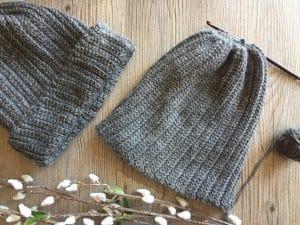 mens crochet hat in grey