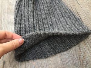men's crochet hat brim close up