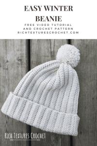 easy crochet winter beanie Pinterest graphic