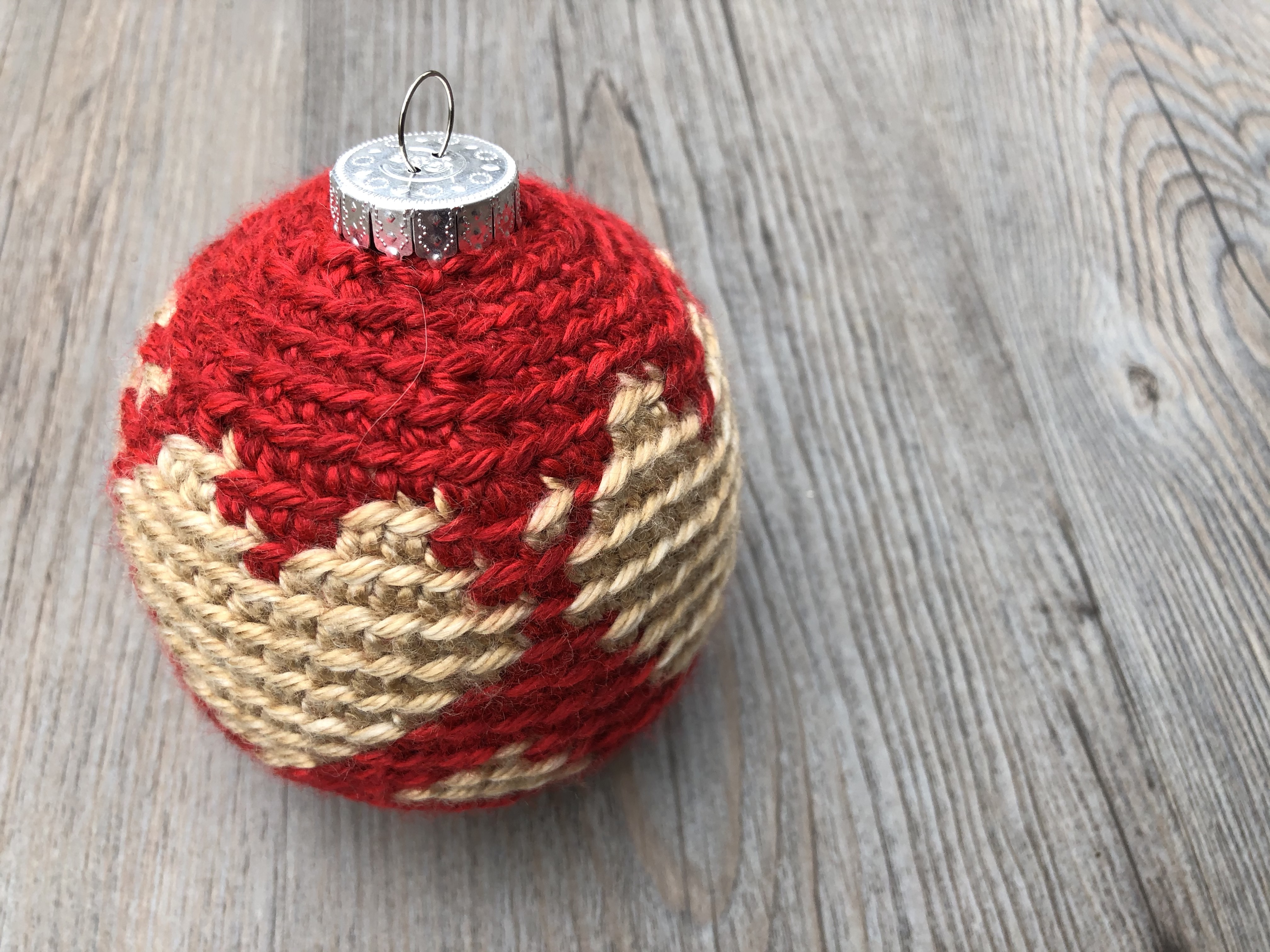 crochet Christmas ornament with heart