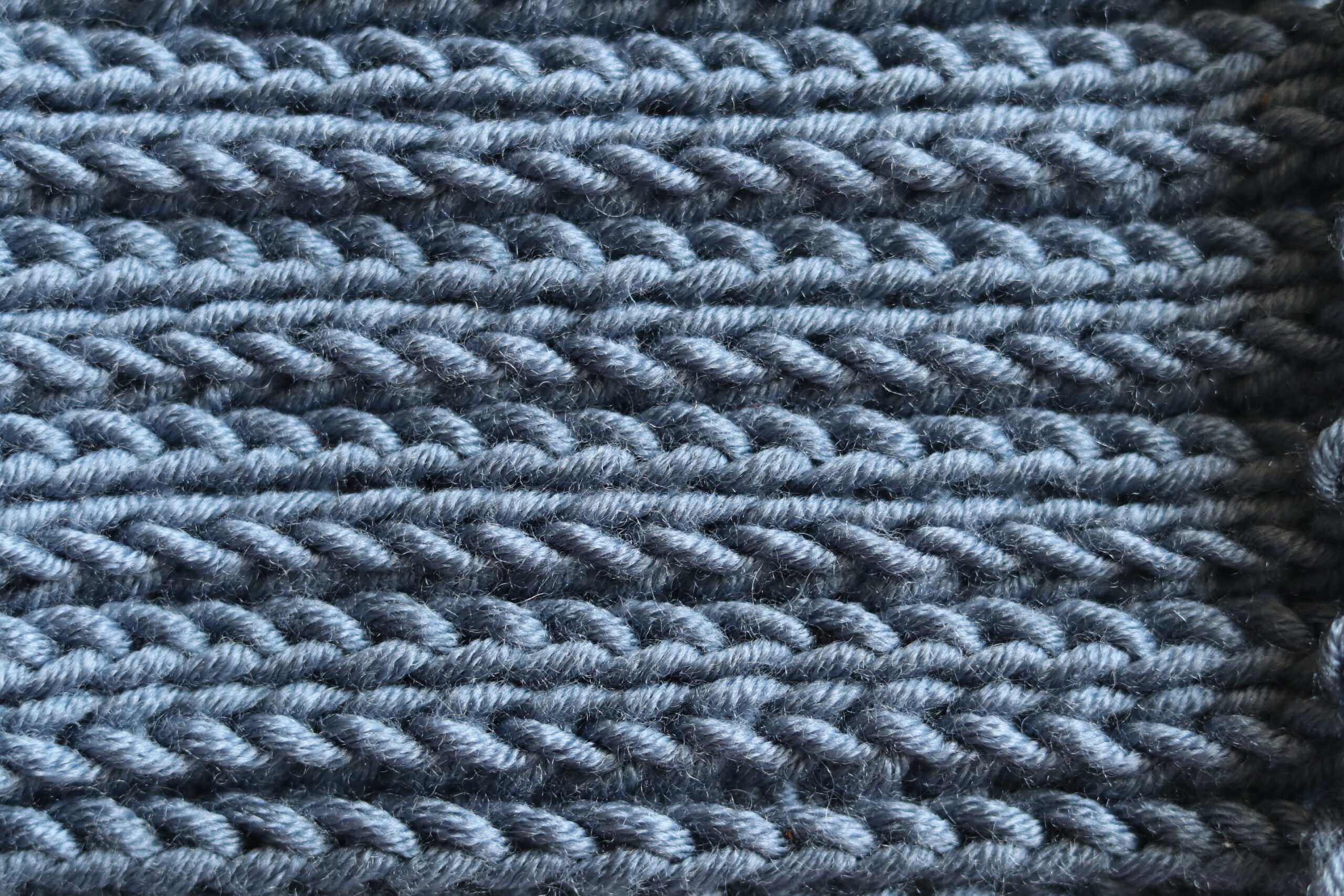 blue close up half double crochet stitch in third loop