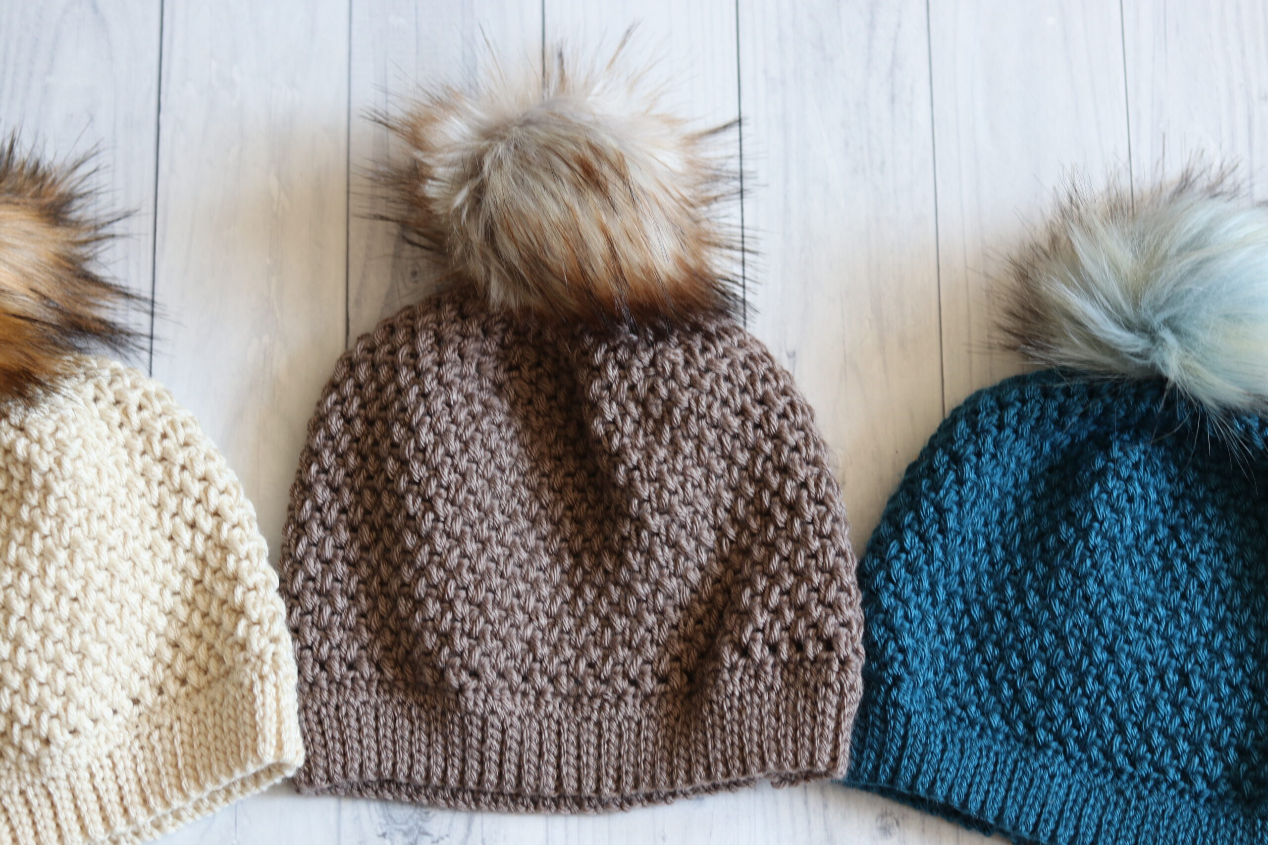 Textured crochet beanie