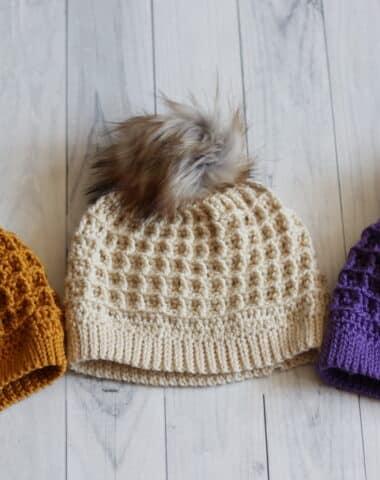 waffle stitch beanie textured crochet hat