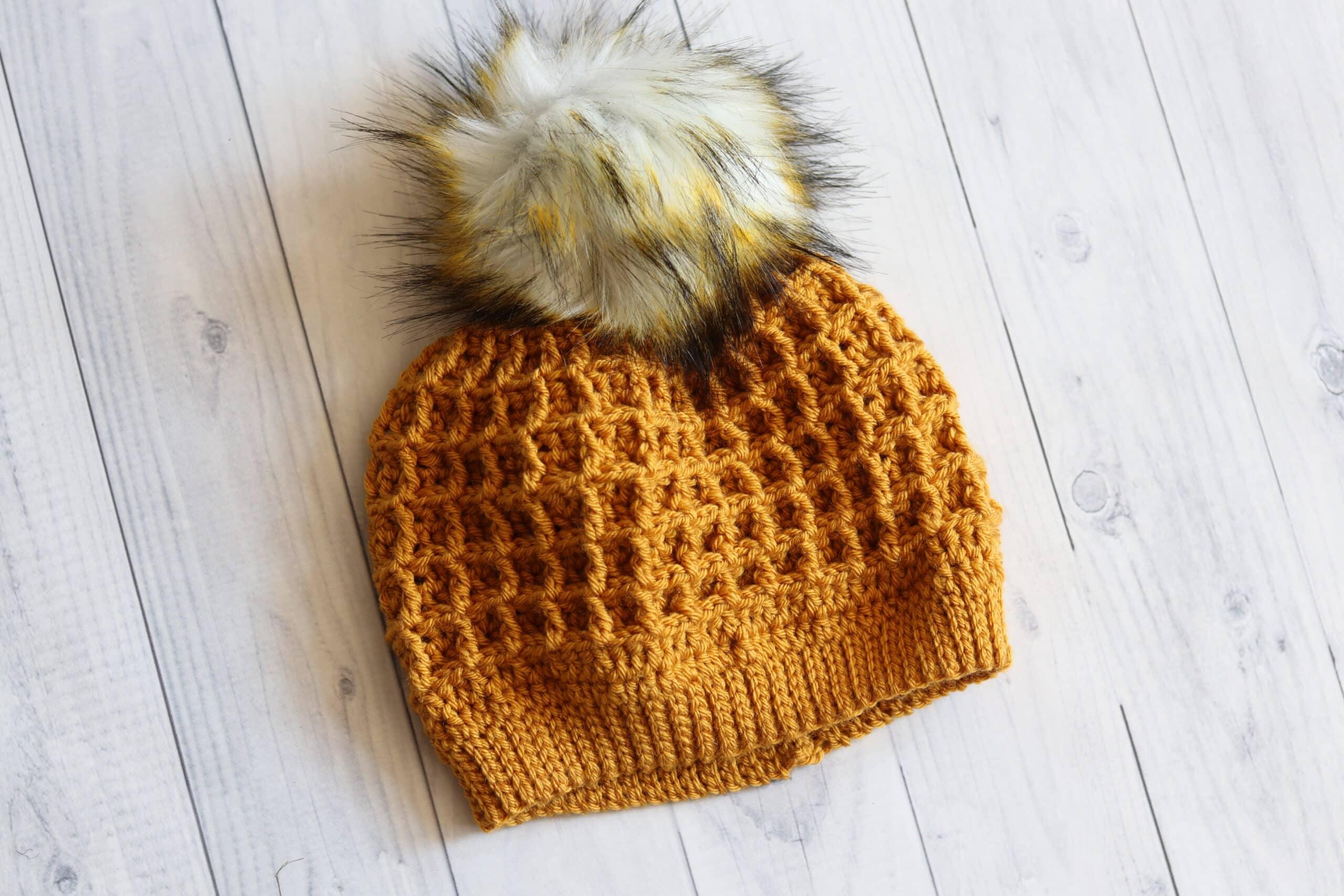 Golden colour waffle stitch crochet hat