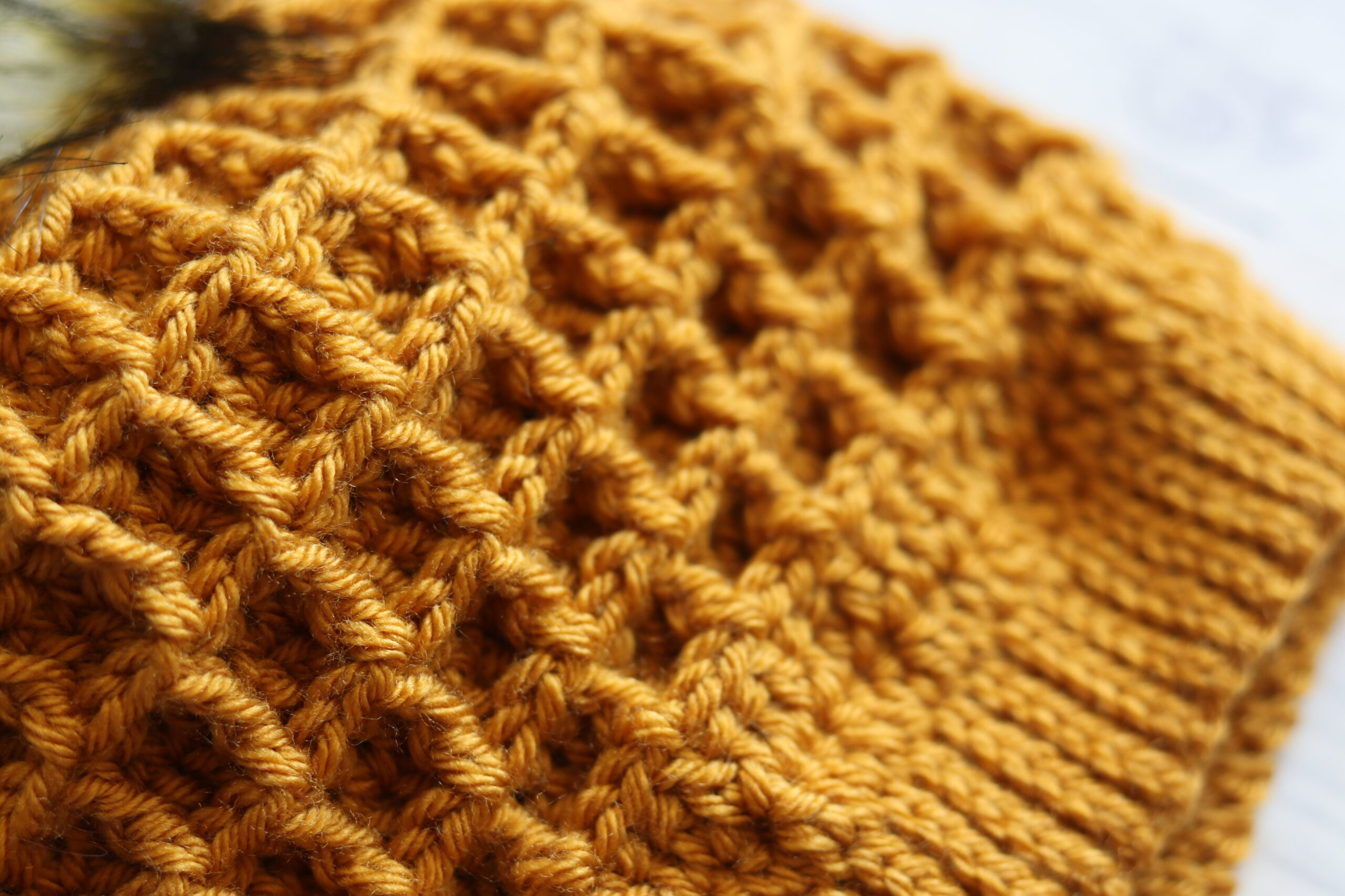close up photo of waffle stitch texture