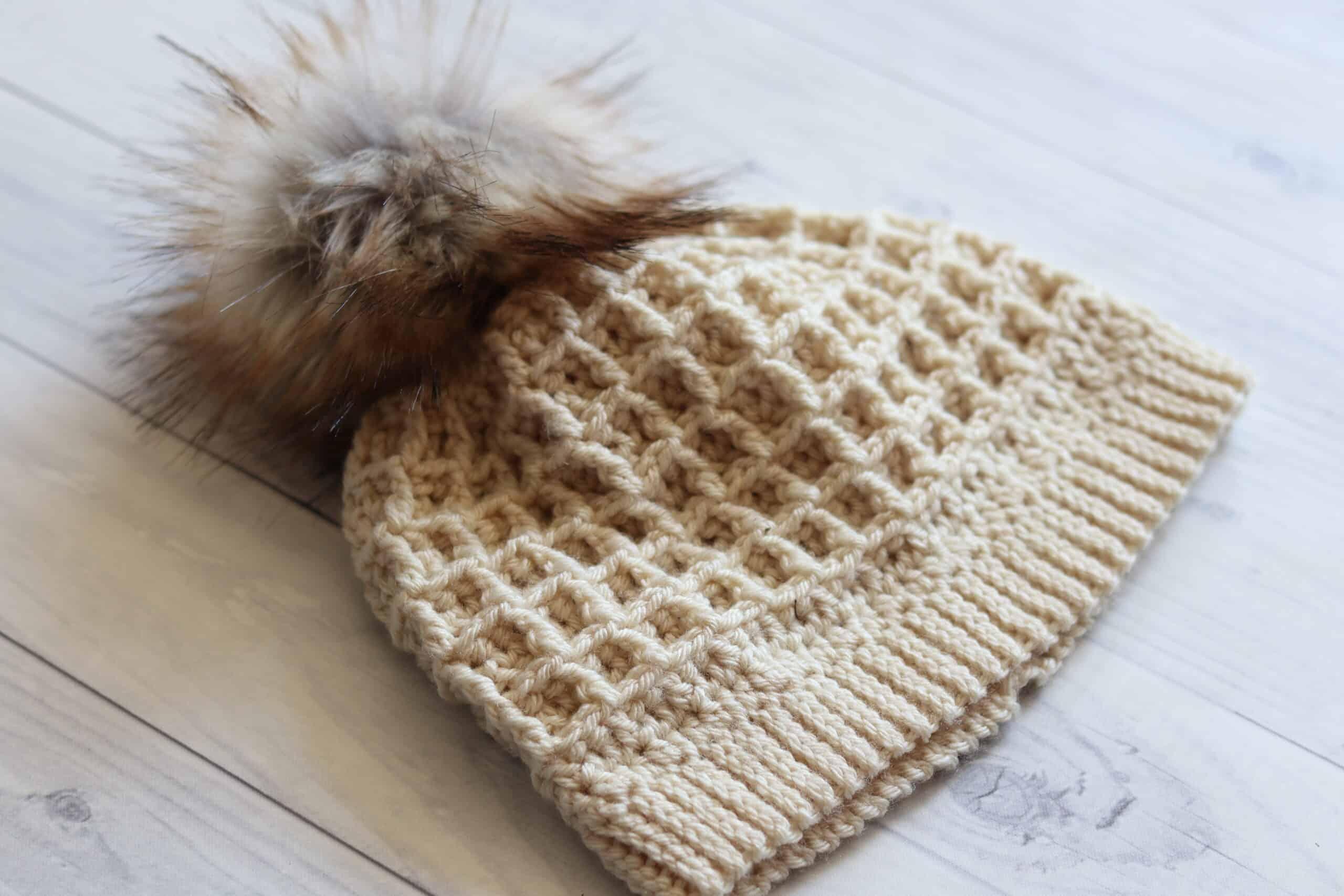 Waffle Stitch crochet hat