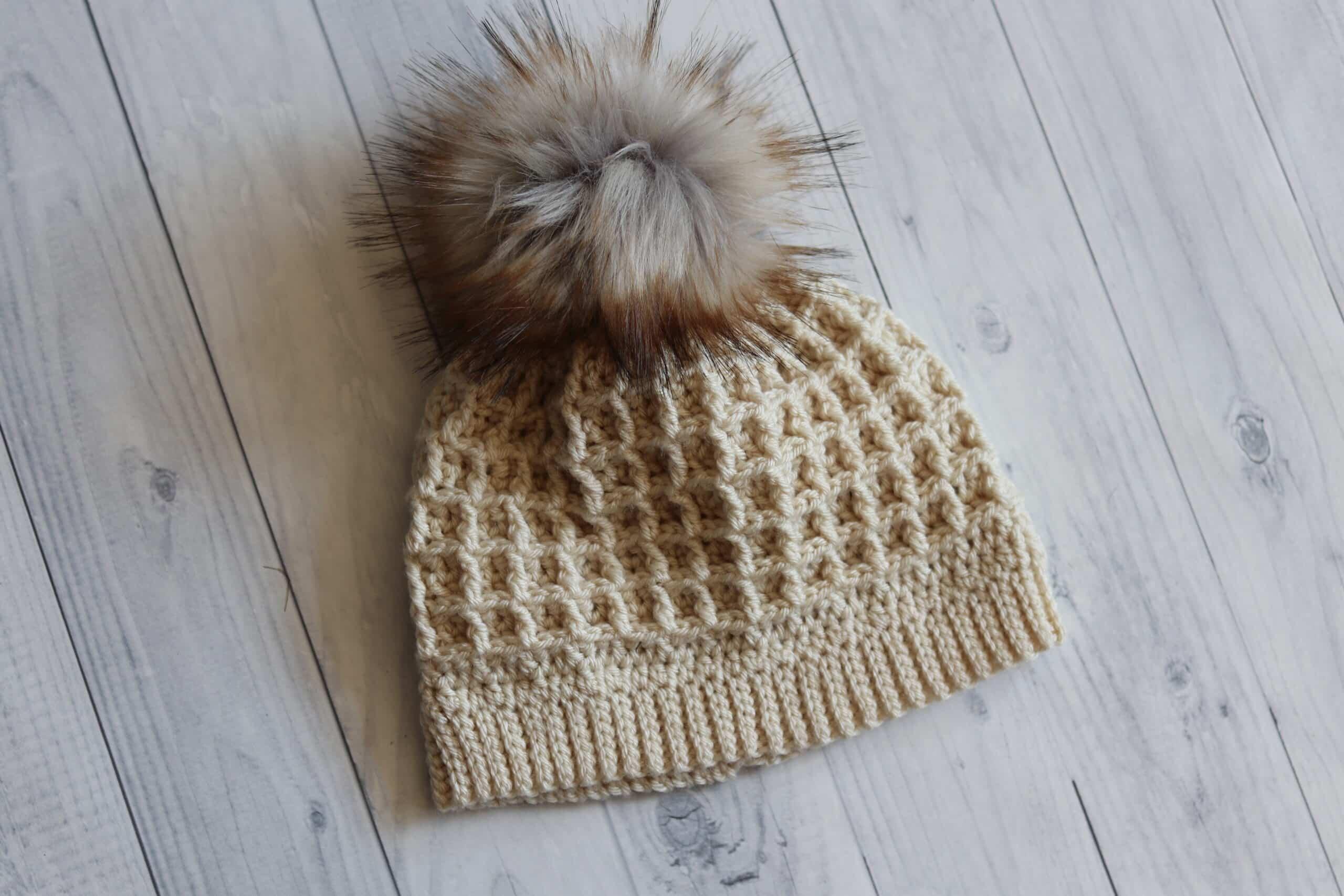 waffle beanie white crochet hat