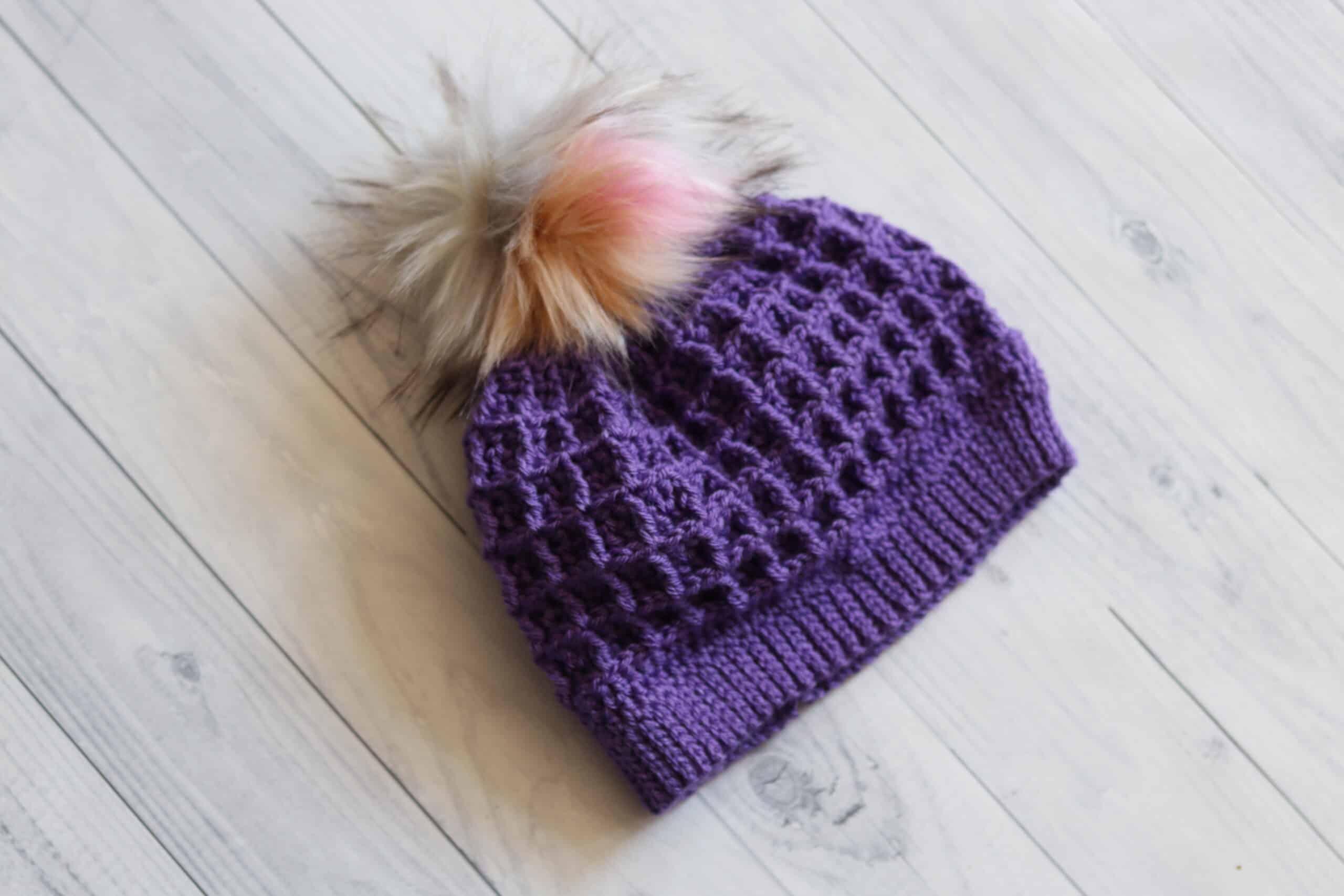 purple textured crochet hat