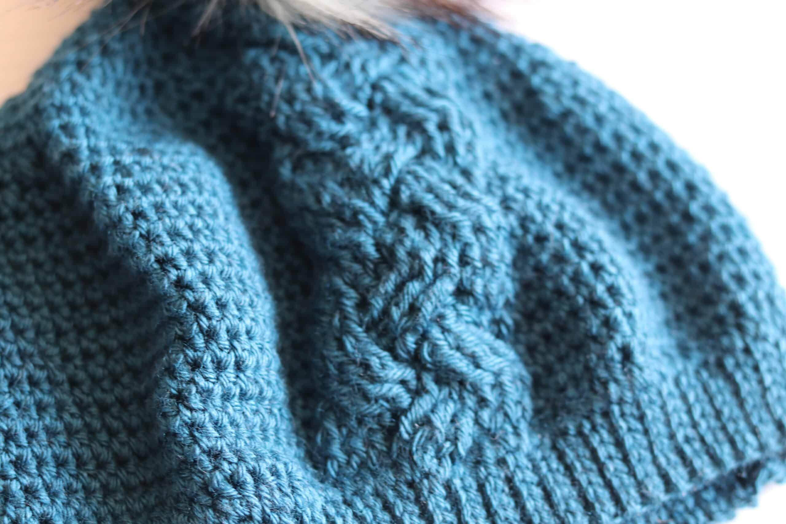 close up cable blue crochet hat