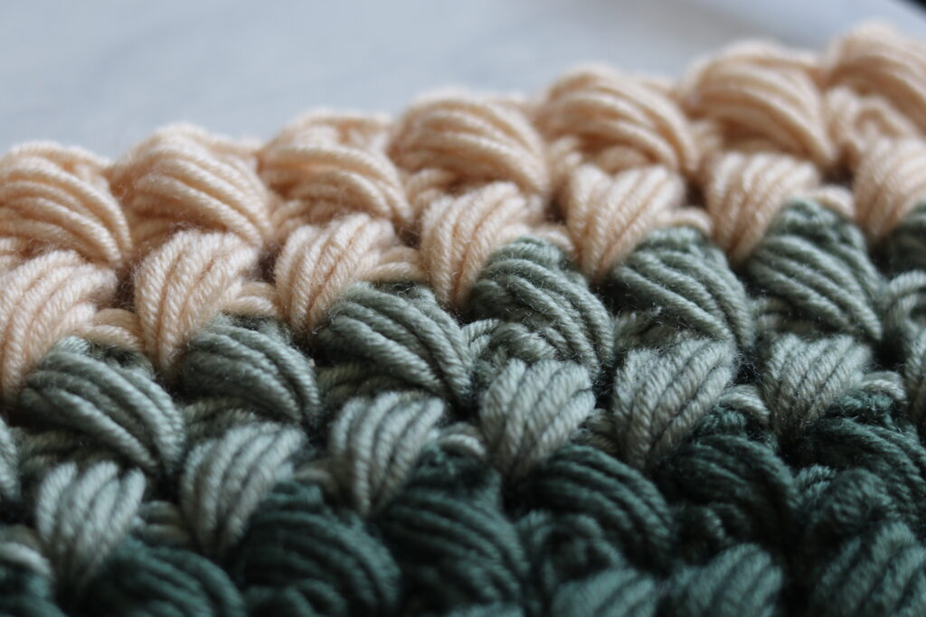Close up of the Braided Puff Stitch