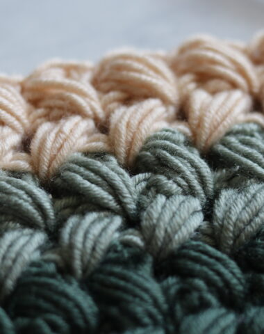 Braided Puff stitch shown in 3 colours