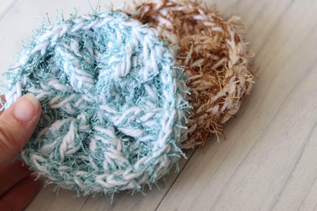 close up crochet scrubby