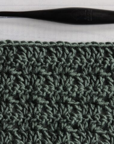 photo of twin v stitch swatch green white background crochet hook