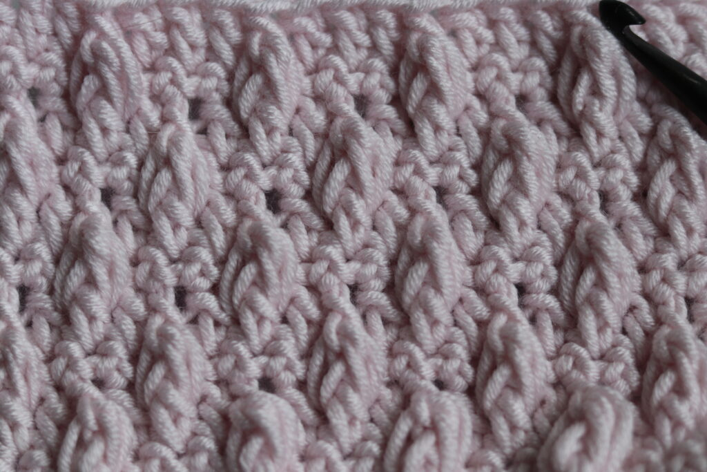 close up falling leaves crochet stitch in pink