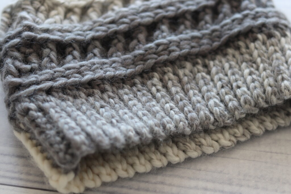 close up of crochet hat brim