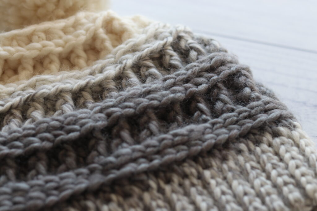 close up of textured stitches in crochet hat