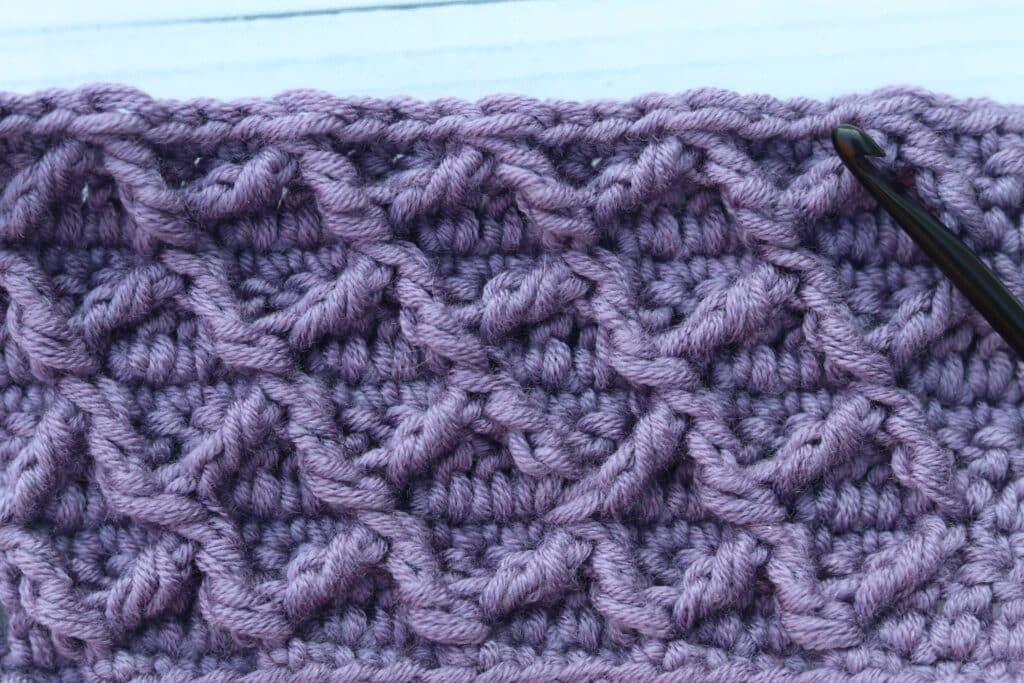 Diamond waffle crochet stitch purple