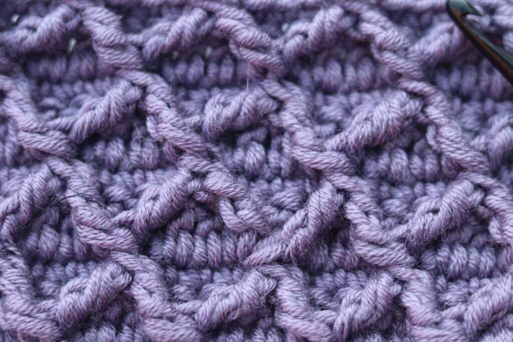 Close up diamond crochet stitch