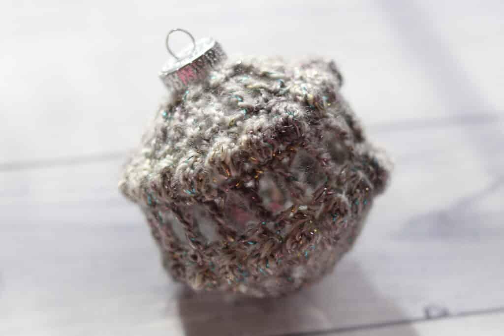 grey crochet Christmas ornament