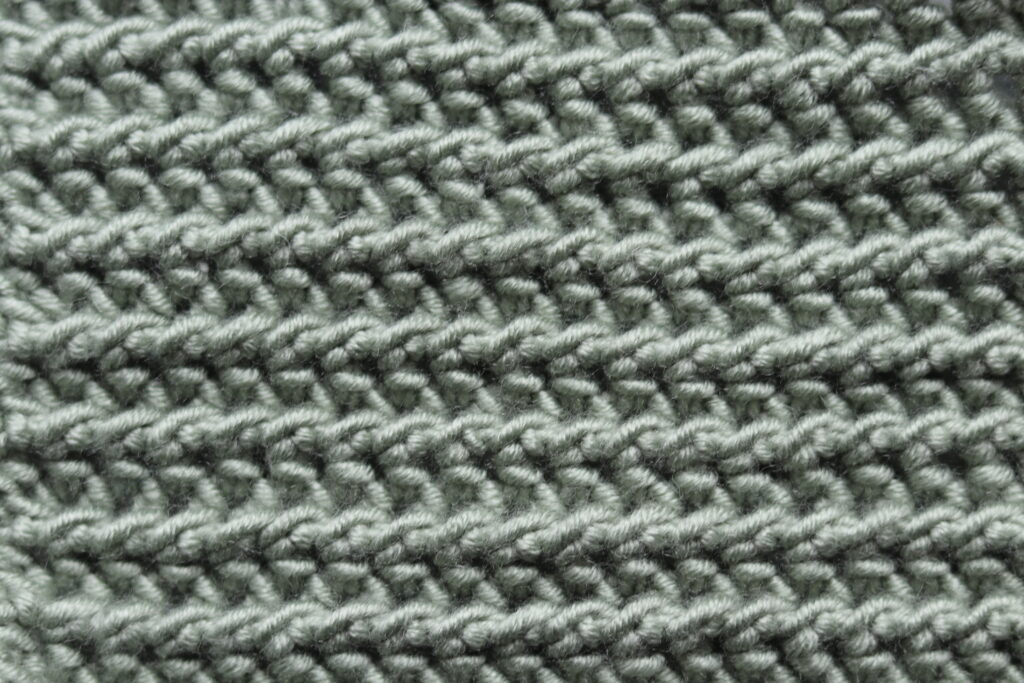 texture half double crochet slip stitch green