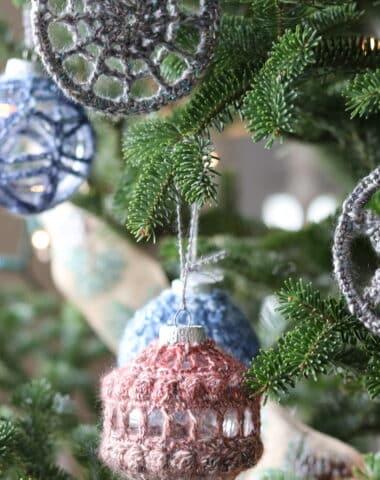 Crochet Christmas Ornaments on a Christmas Tree