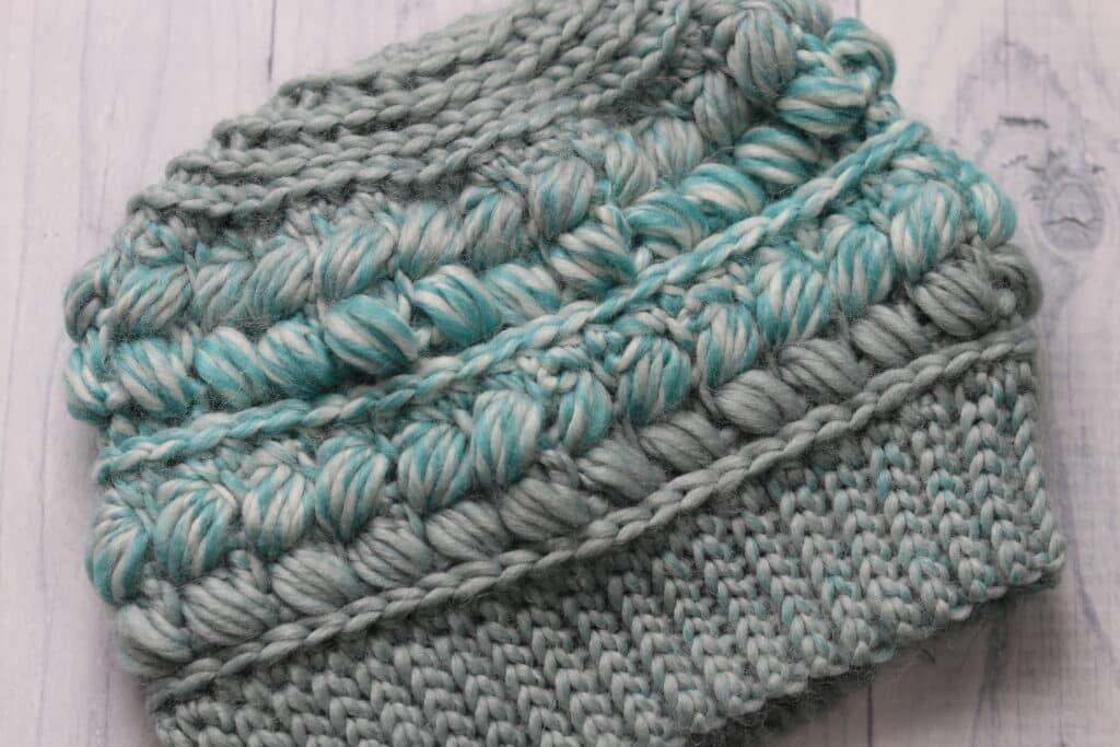 braided crochet beanie in teal