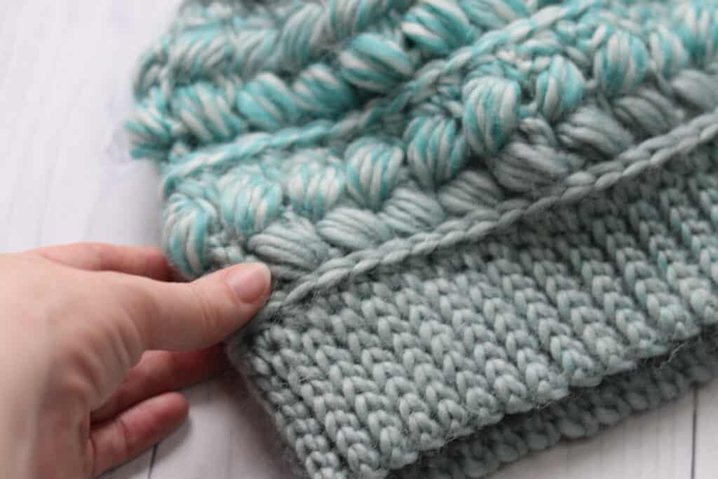 Crochet hat brim close up