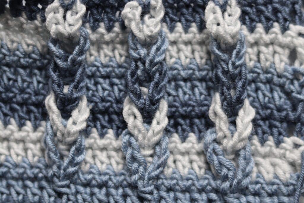 crochet stitch, blue close up