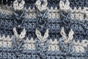 crochet stitch, blue close up