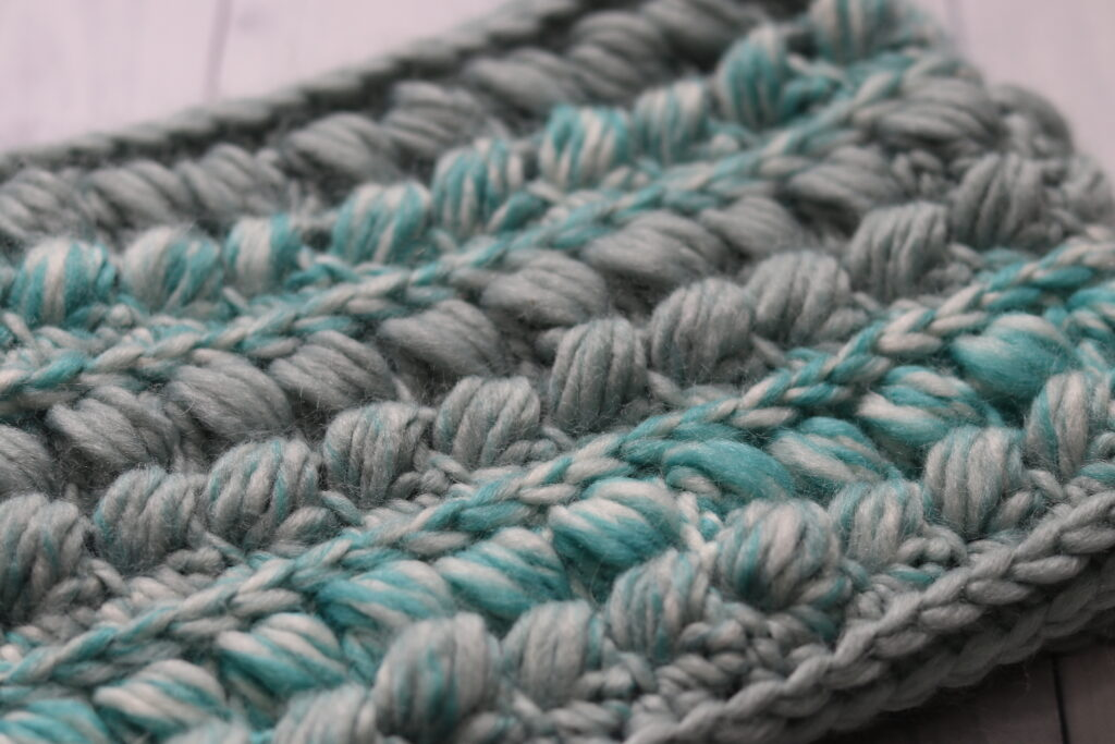 close up of crochet cowl