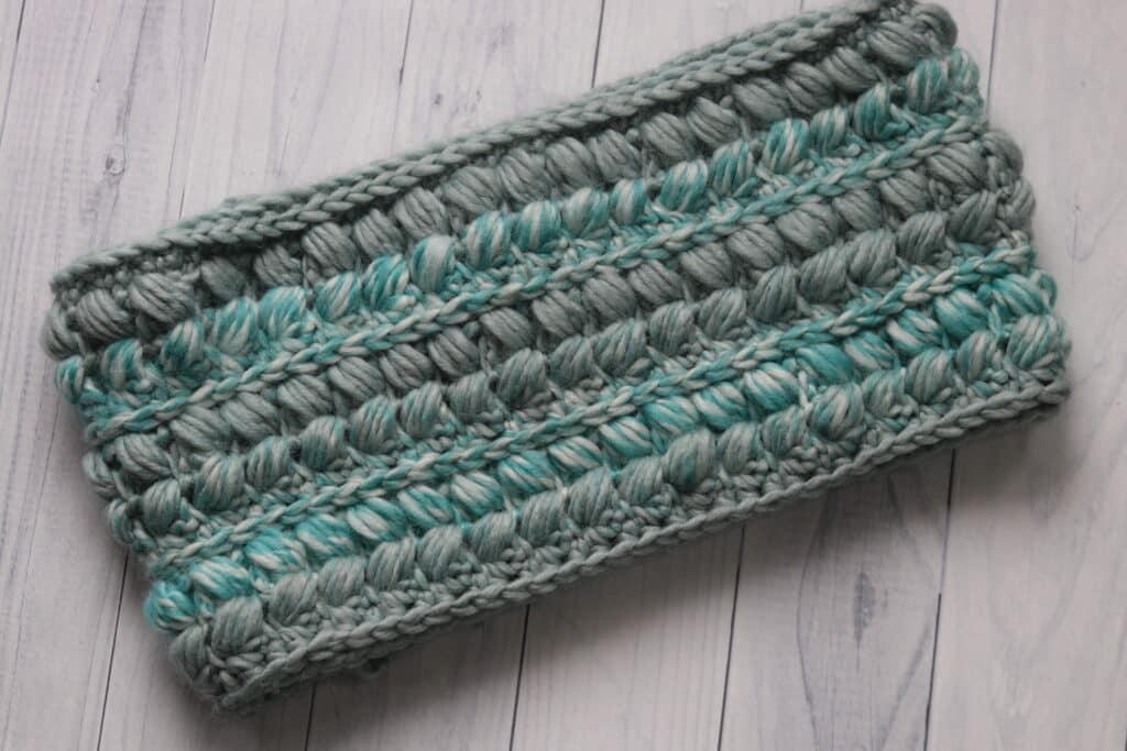 flat lay of crochet cowl