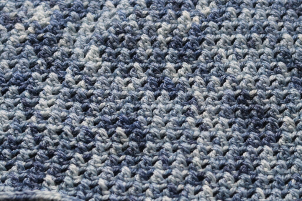 close up of crossed double crochet stitches