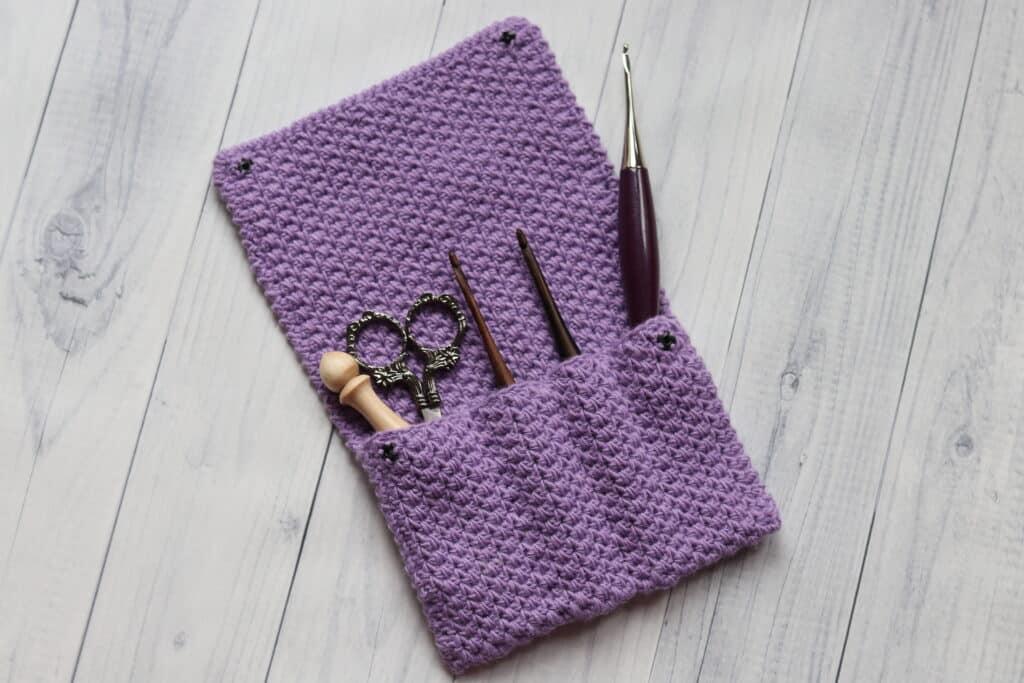 purple crochet hook case