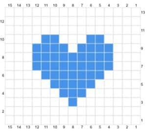 colour graph for cross stitch heart design