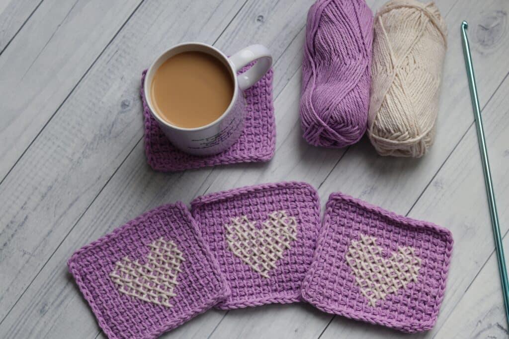 Tunisian crochet simple stitch mug rugs