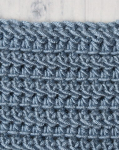 linked half double crochet stitch swatch in blue