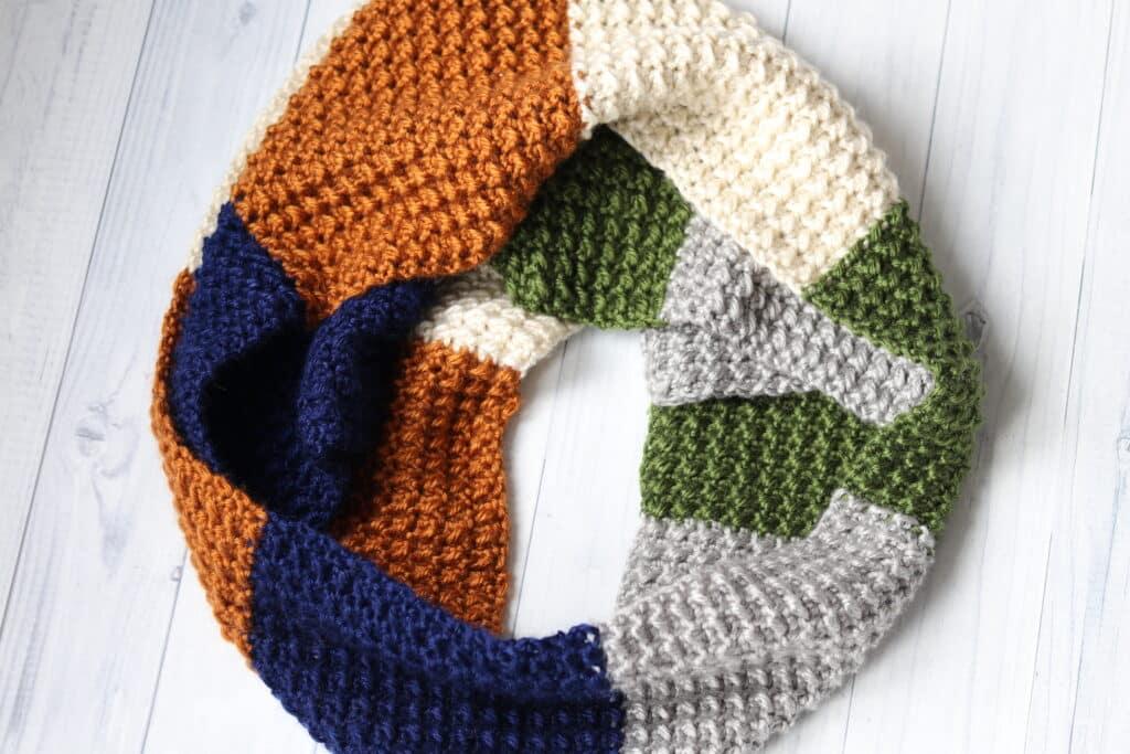 free, white, copper, blue, grey crochet scarf