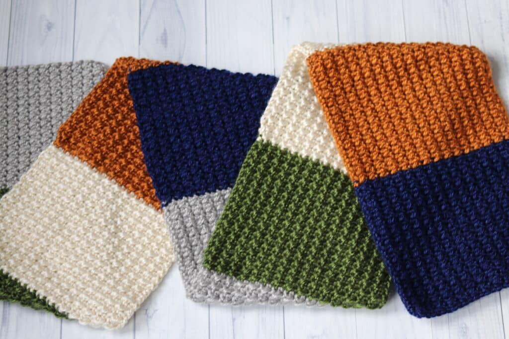 flat lay of the terra nova crochet scarf pattern