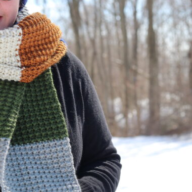 woman wearing the terra nova crochet scarf