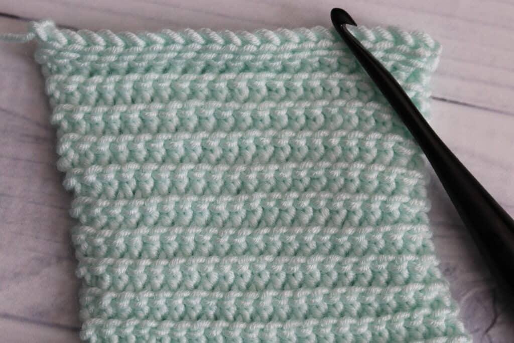 crochet purl slip stitch in aqua colour