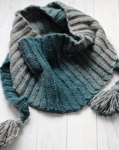 winter hues crochet triangle scarf is teal and grey
