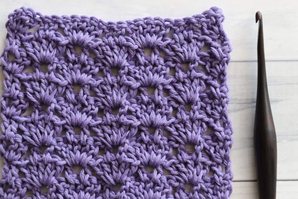 crochet thistle stitch in purple