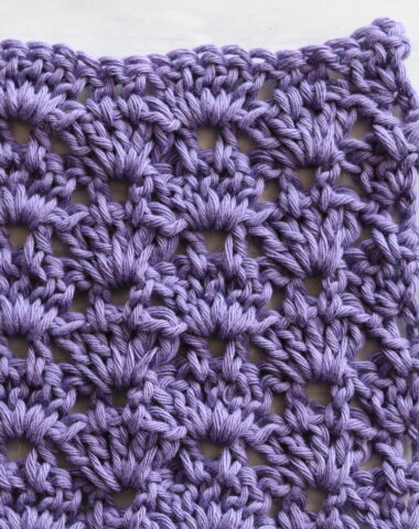 crochet thistle stitch in purple