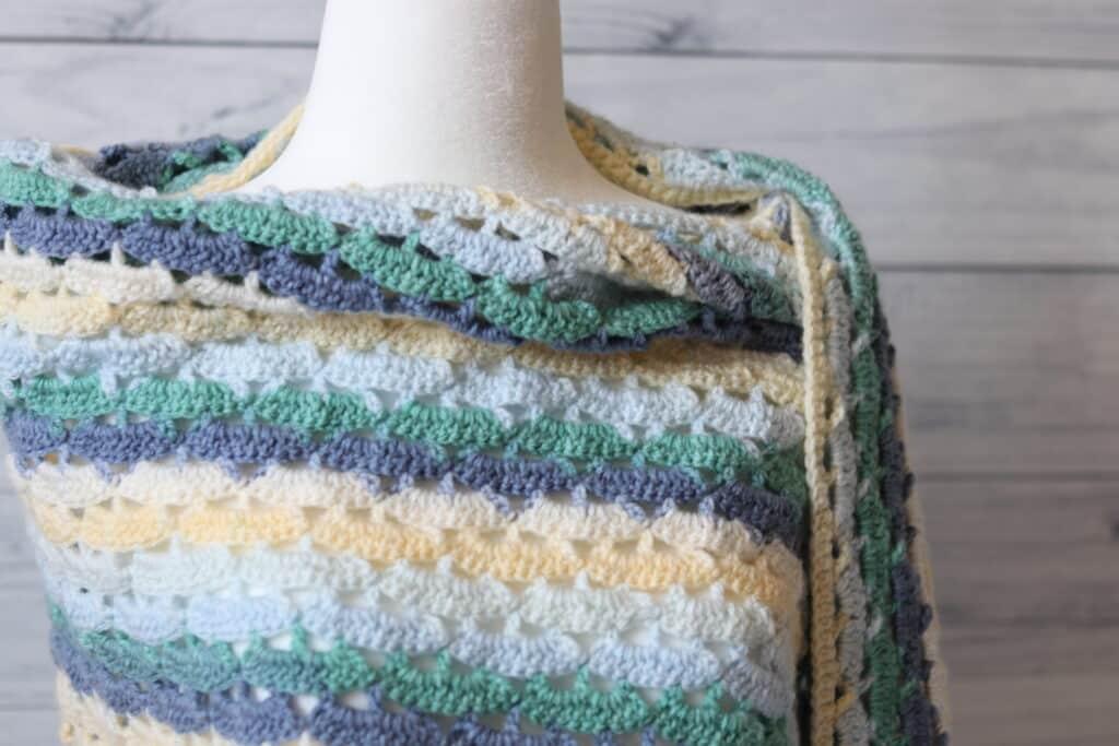 neck line of a light weight crochet shawl
