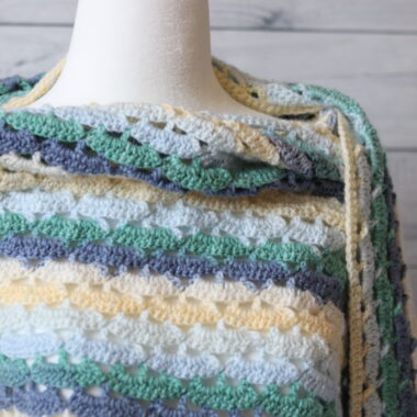 neck line of a light weight crochet shawl