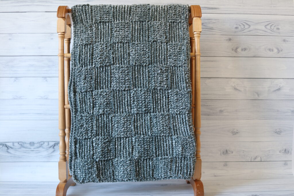 grey soft crochet blanket