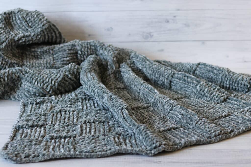grey crochet blanket in Bernat Velvet Yarn