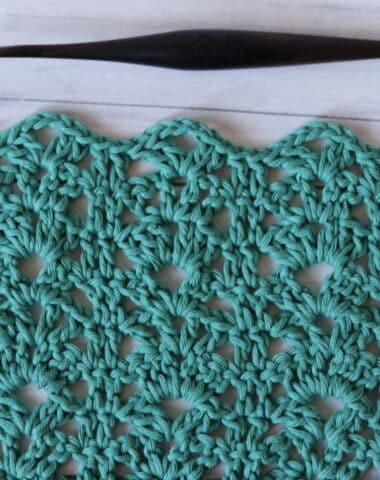 crochet rack stitch in green