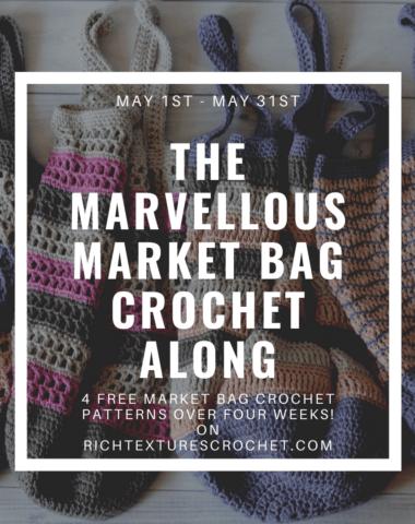 Advertising photo for market bag crochet along